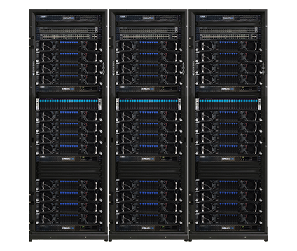 AMAX [INTELLI]Rack AI is a turnkey Machine Learning cluster designed for optimal manageability and performance, featuring 96x NVIDIA® V100S cards for up to 1.34 PFLOPs per rack.